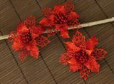Vánoční květina-červená, 3ks