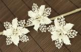 Vánoční květina-bílá, 3ks