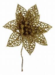 Vánoční růže-zlatá, 5ks - zvětšit obrázek