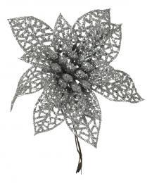 Vánoční růže-stříbrná, 5ks - zvětšit obrázek