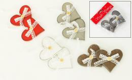 Vánoční dřevěné srdce, 2ks - zvětšit obrázek
