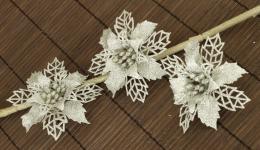 Vánoční květina-stříbrná, 3ks - zvětšit obrázek