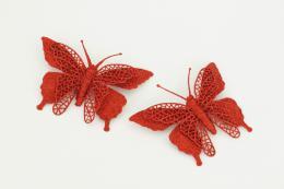 Vánoční motýl-červená, 2ks - zvětšit obrázek