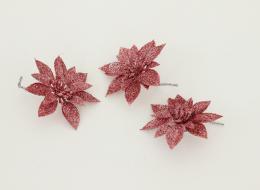 Vánoční květina-růžová, 3ks - zvětšit obrázek