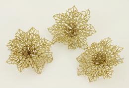 Vánoční květina-zlatá, 3ks - zvětšit obrázek