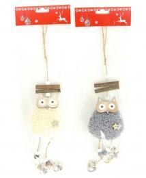 Vánoční sova s plyšem - zvětšit obrázek
