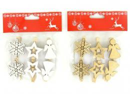 Vánoční dekorace na kolíčku,6ks - zvětšit obrázek